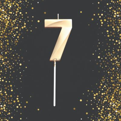 Number Candle - 7 (Gold) (CDL-NB-G7)