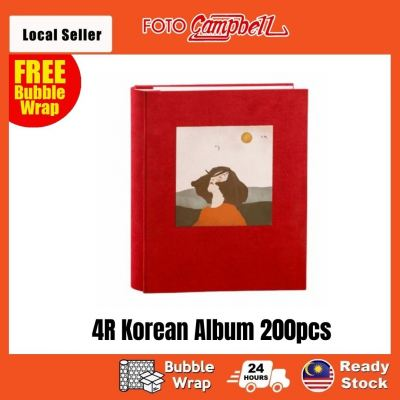 4R-200pcs fabric cover Pocket AlbumReady Stock---red
