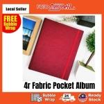 4R-100/200pcs pocket Photo Album(fabric cover)Ready Stock--- prenium red