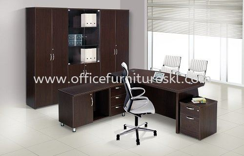 QAMAR EXECUTIVE DIRECTOR OFFICE TABLE SET WITH SIDE DRAWER, MOBILE PEDESTAL 1D1F & HIGH CABINET SET - Best Buy Director Office Table | Director Office Table KL-Kuala Lumpur-Malaysia | Director Office Table PJ-Damansara Selangor-Malaysia | Director Office Table Taman OUG