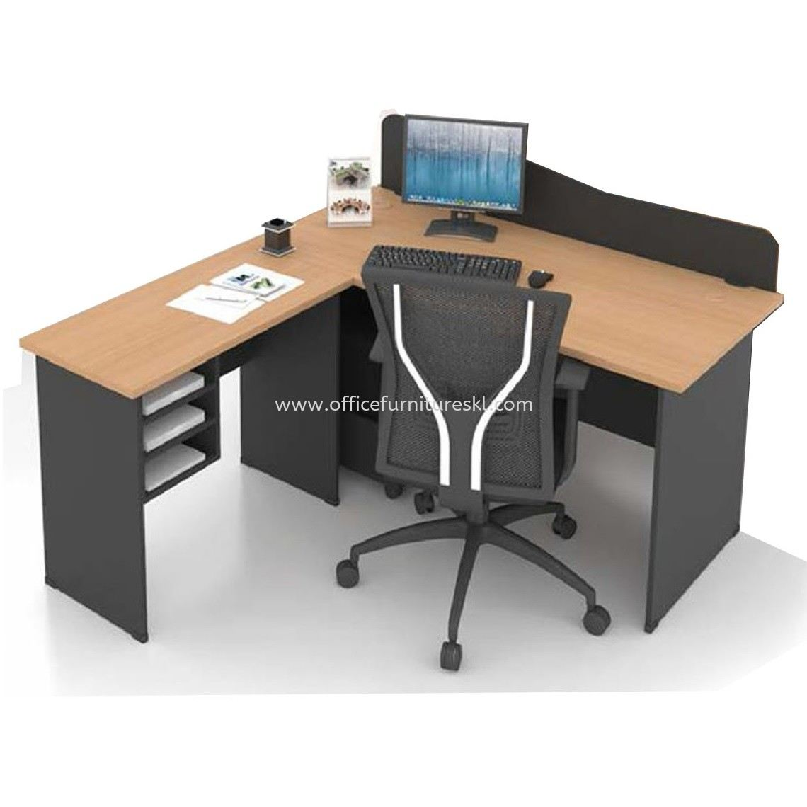 FOBIES 5 FEET OFFICE TABLE WITH PARTITION BOARD C/W SIDE TABLE & RETURN RACK SET - Office Table Batu Caves | Office Table Kepong | Office Table Serdang | Office Table Balakong