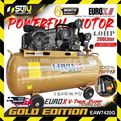 EUROX Gold Edition EAW-7420G / EAW-7420 4HP 200L Air Compressor 8bar 1050rpm