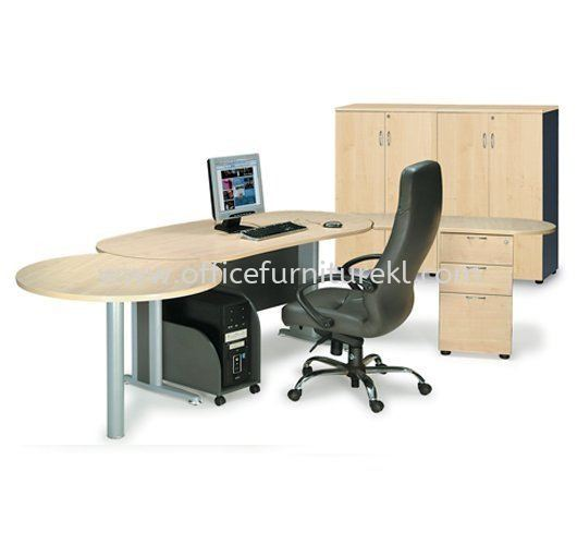 TITUS EXECUTIVE OFFICE TABLE / DESK OVAL SHAPE C/W FIXED PEDESTAL 2D1F, SIDE DISCUSSION TABLE & CPU HOLDER (W/O TEL CAP)  ATMB 33 (FRONT) (Color Maple) - executive office table Empire City | executive office table Jalan Kuching | executive office table Cheras | executive office table Best Design