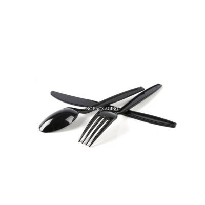 Black spoon and fork