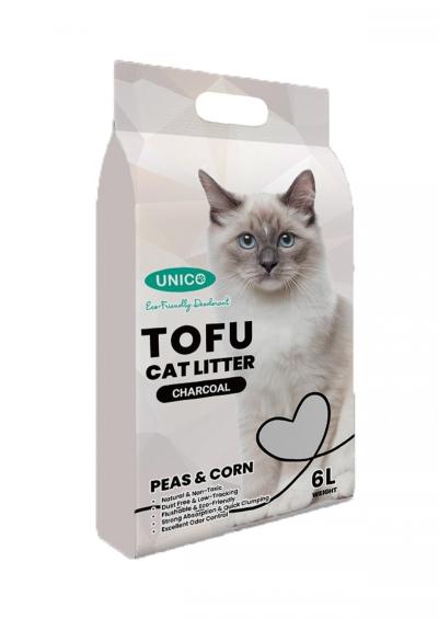 60436 Unico Tofu 6L Cat Litter - Charcoal