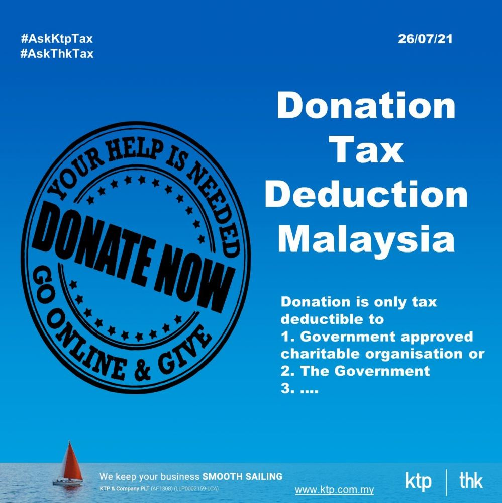 100% tax deduction on your donation in Malaysia.