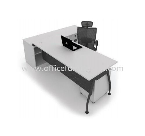 MADISON DIRECTOR OFFICE TABLE C/W SIDE LOW CABINET & MOBILE PEDESTAL 3D (Color Grey) - director office table Sungai Buloh | director office table Damansara Jaya | director office table Jalan Kuching | director office table New Year Sale