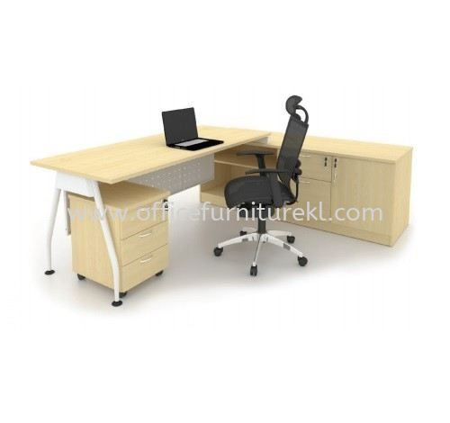 MADISON DIRECTOR OFFICE TABLE C/W SIDE LOW CABINET & MOBILE PEDESTAL 3D (Color Maple) - director office table Sri Petaling | director office table Bandar Utama | director office table Segambut | director office table Promotion Price