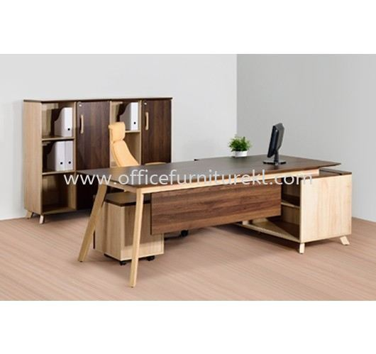 PAXIS DIRECTOR OFFICE TABLE C/W SIDE LOW CABINET & MEDIUM CABINET PXI 2190 - director office table Damansara Intan | director office table Ukay Perdana | director office table Titiwangsa | director office table Fast Delivery