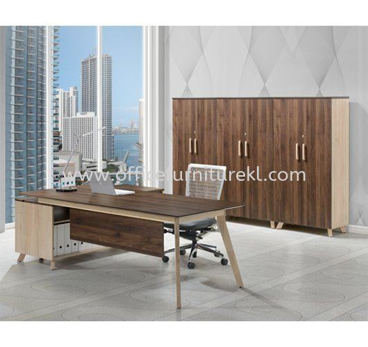 PAXIS DIRECTOR OFFICE TABLE C/W SIDE LOW CABINET & MEDIUM CABINET PXI 2190 - director office table Cheras | director office table Kepong | director office table Selayang | director office table 12.12 Mega Sale