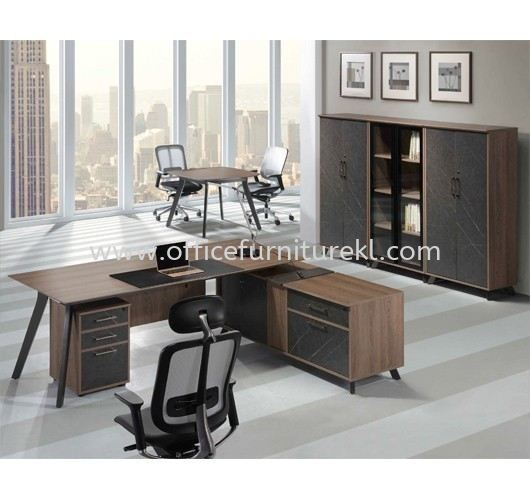 PAXOS DIRECTOR OFFICE TABLE C/W WOODEN MODESTY PANEL WITH SIDE LOW CABINET, MOBILE PEDESTAL 2D1F & MEDIUM CABINET PXO 2190 - director office table Ukay Perdana | director office table Bukit Jalil | director office table Accentra Glenmarie | director office table Must Buy