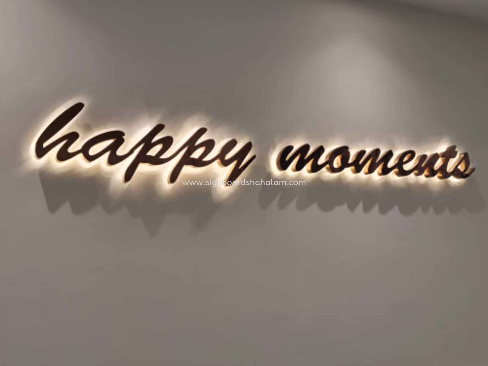 Happy Moments 3D Box Up Stainless Steel Led Backlit Signage