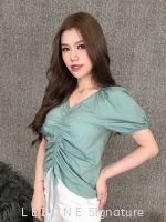 79681 Front Tie Band Sleeved Top