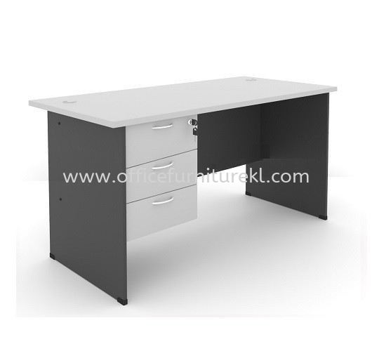 WRITING OFFICE TABLE / DESK C/W FIXED PEDESTAL 3D AGT 127 (Color Grey) - writing office table Bukit Gasing   writing office table Ara Damansara   writing office table Sungai Besi   writing office table Promotion Price