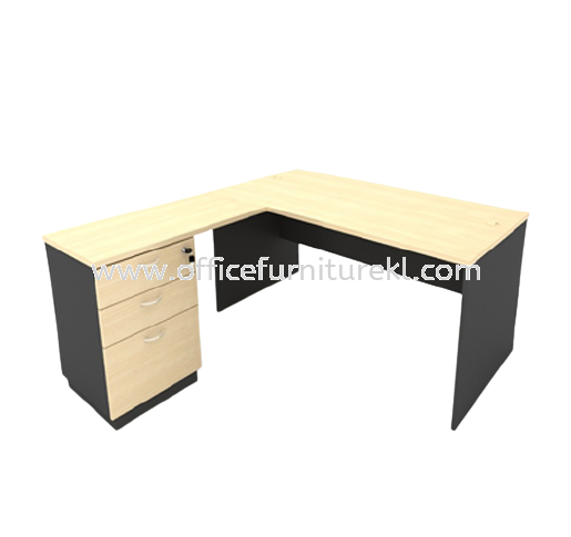 5' WRITING OFFICE TABLE / DESK C/W FIXED PEDESTAL 2D1F AGT 127 (Color Maple)  - writing office table Desa Pandan   writing office table Bukit Gasing   writing office table Damansara Heights   L-shape office table Office Furniture Manufacture