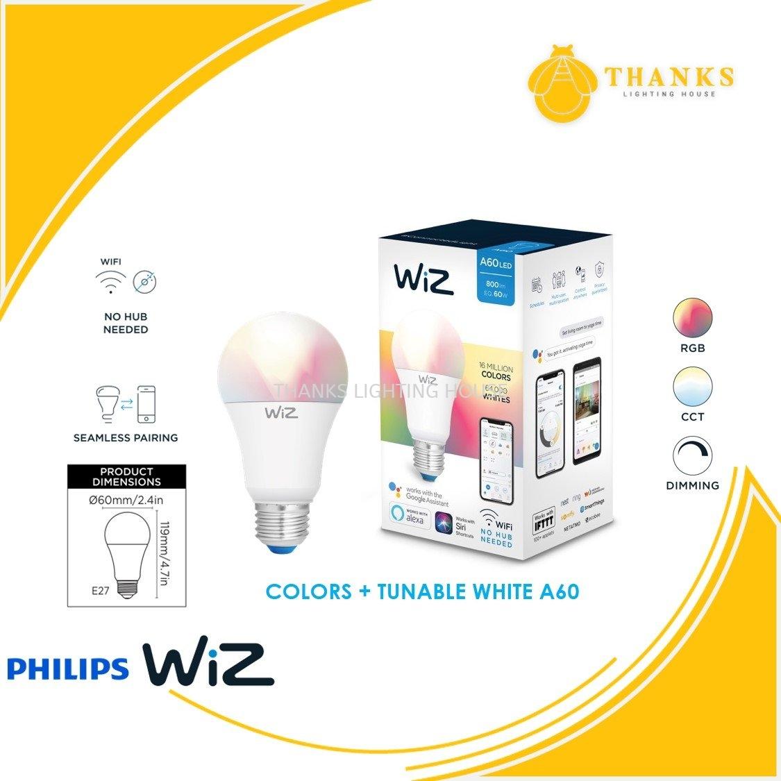 Philips Wiz Colour + Tunable White A60 LED Smart Bulb