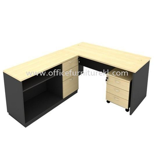 5' WRITING OFFICE TABLE / DESK C/W SIDE CABINET & MOBILE PEDESTAL 3D AGT 157 (Color Maple) - writing office table Balakong   writing office table Damansara Kim   writing office table Setia Alam   writing office table Top 10 Best Recommend