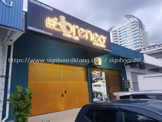 breneo aluminum ceiling trism casing 3d led backlit stainless steel gold mirror lettering signage signboars at klang kuala lumpur shah alam puchong