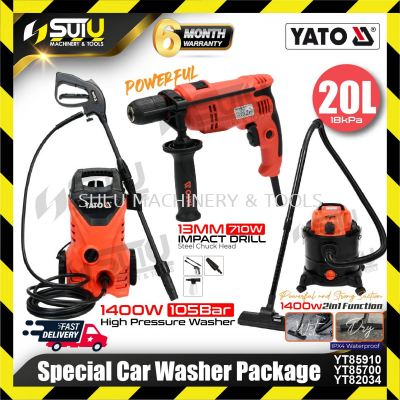 YATO Special Car Washer Package ( YT85910 High Pressure Washer + YT85700 2in1 Vacuum + YT82034 Impac