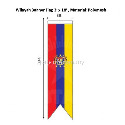 Wilayah Flag 3'x18' Banner, Material Polymesh