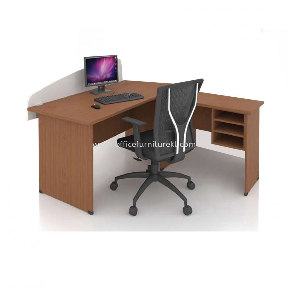 FOBIS 4' OFFICE TABLE   STUDY TABLE   COMPUTER TABLE WITH PARTITION BOARD C/W SIDE TABLE FOBIS 127 (Color Beech) - office table Batu Caves   office table Selayang   office table Setapak   office table 11.11 Mega Sale