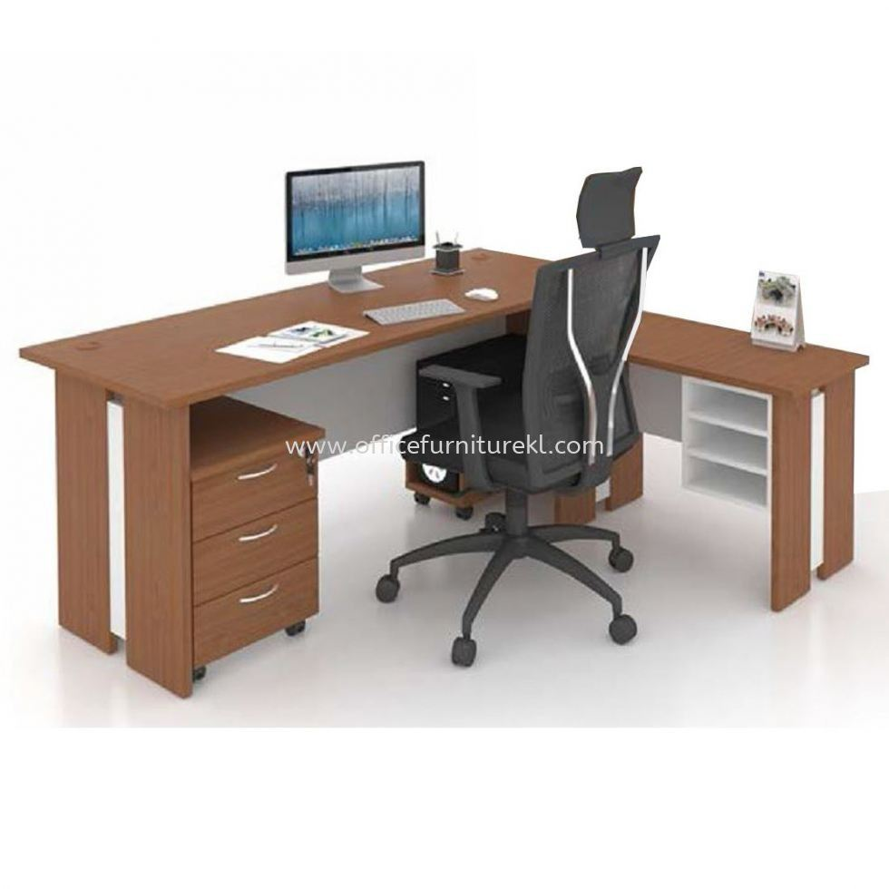 FAMAH 5' OFFICE TABLE   STUDY TABLE   COMPUTER TABLE C/W SIDE TABLE & DRAWER 3D SET FAMAH 157 (COLOR CHERRY & WHITE)  - office table Bandar Utama   office table Tropicana Metropark   office table Jalan Ceylon   office table Top 10 Most Popular