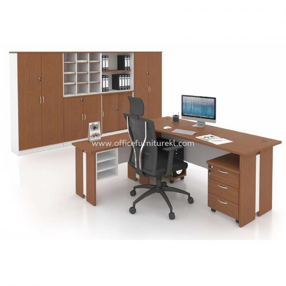 FAMAH 5' OFFICE TABLE   STUDY TABLE   COMPUTER TABLE C/W SIDE TABLE WITH DRAWER 3D & CABINET SET SET FAMAH 157 (Color Cherry & White)  - office table Changkat Semantan   office table Uoa Business Park   office table Kwasa Damansara   office table Fast Delivery