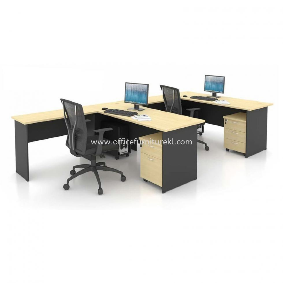 5' OFFICE TABLE   COMPUTER TABLE   STUDY TABLE C/W SIDE TABLE & MOBILE PEDESTAL 1D1F SET AGT 157 FO (Color Maple & Dark Grey) - office table Jalan Tun Razak   office table Damansara Kim   office table Tadisma Business Park   office table Anniversary Sale