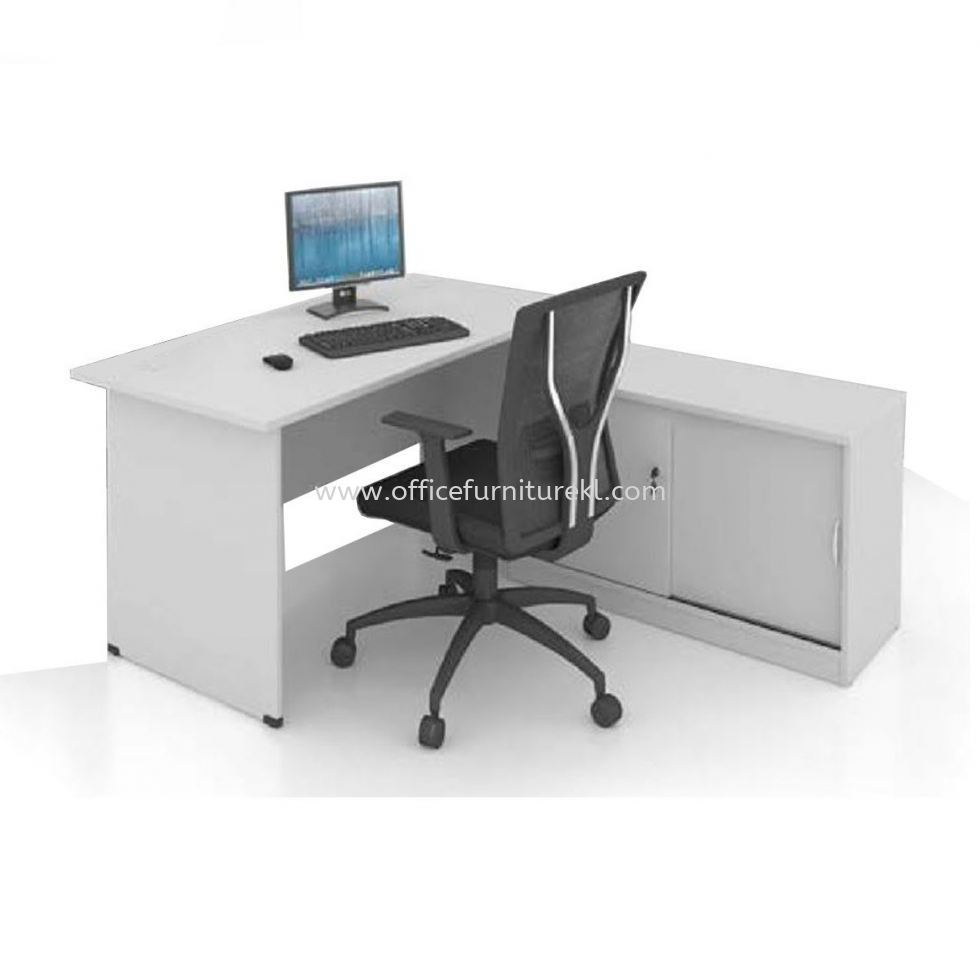 5' OFFICE TABLE WITH SIDE CABINET SET GREY DARK GREY