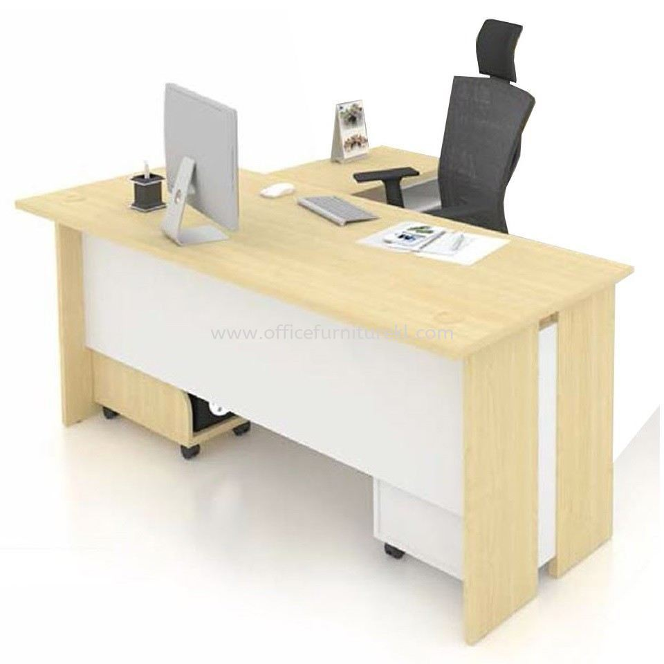 FAMAH 5' OFFICE TABLE   COMPUTER TABLE   STUDY TABLE C/W SIDE TABLE & MOBILE PEDESTAL 3D FAMAH 157 (Color Maple & White)  - office table Jalan P. Ramlee   office table Taman Bandaraya   office table Ampang Point   office table Top 10 Best Recommend