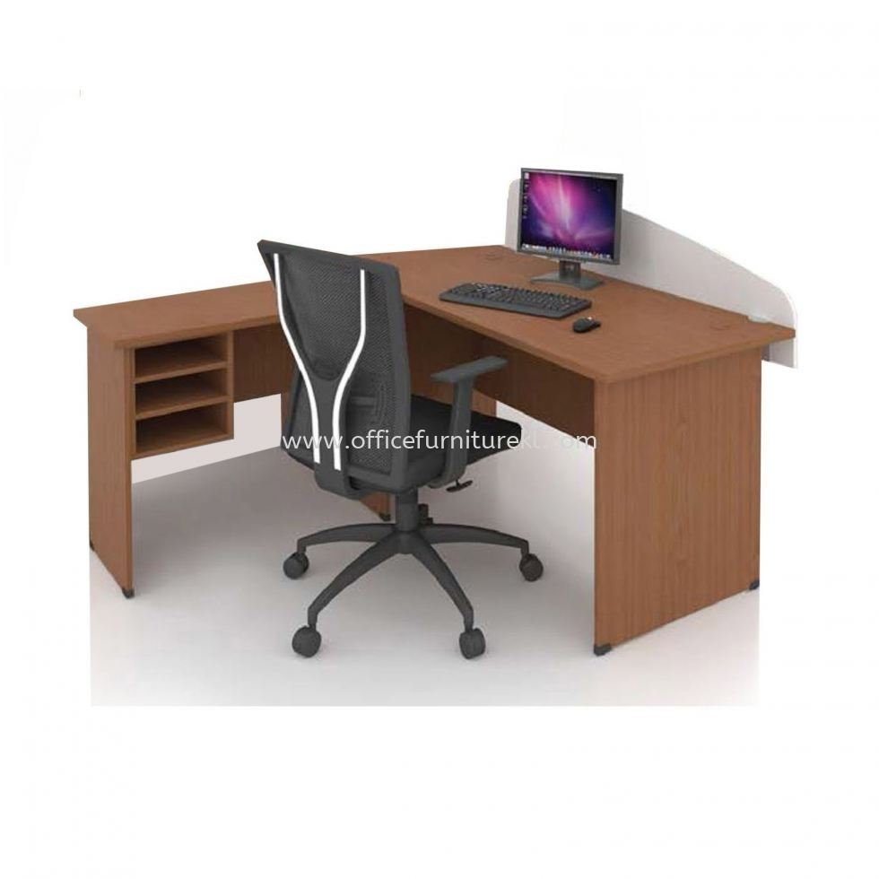 FOBIS 4' OFFICE TABLE   STUDY TABLE   COMPUTER TABLE WITH PARTITION BOARD C/W SIDE TABLE & RETURN RACK FOBIS 127 (Color Maple & Dark Grey) - office table Jalan Tun Razak   office table Damansara Kim   office table Tadisma Business Park   office table Mid Year Sale