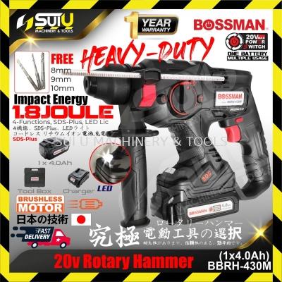 BOSSMAN BBRH-430M 20V Cordless Rotary Hammer Drill Brushless Motor (1 x Charger + 1 x 4.0 Ah Battery