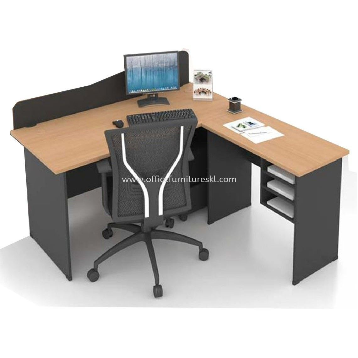 FOBIES 4 FEET OFFICE TABLE WITH PARTITION BOARD C/W SIDE TABLE & RETURN RACK SET - Office Table Puchong | Office Table Sunway | Office Table Subang | Office Table Shah Alam