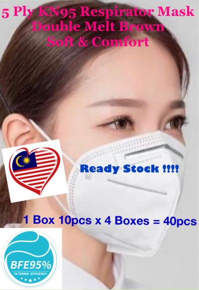 German Specification 5 Ply KN95 Respirator Mask Double Layers Melt Blown Disposal Mask