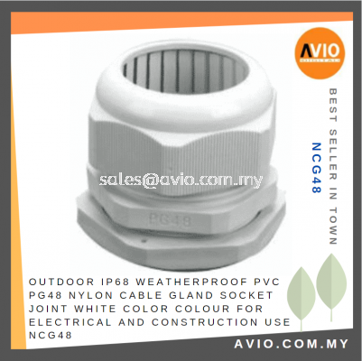 Outdoor IP68 Weatherproof PG48 PVC Nylon Cable Gland Socket Joint White Color Colour Electrical and Construction NCG48