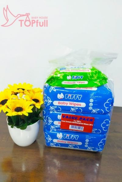 Fiffy value pack wipe tissues 80's*3 Free Antibacterial Wipe Tissues 30's