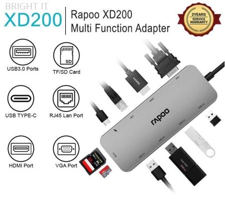 RAPOO XD200C USB-C MULTI FUNCTION ADAPTER 10 in 1 (VGA, HDMI, RJ45, SD CARD READER, USB 2.0-3.0 4-PORT)