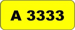 Number Plate A3333 Rare Classic Plate