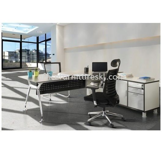 ZABIES EXECUTIVE DIRECTOR OFFICE TABLE WITH SIDE CABINET - Manufacturer Office Director Office Table | Director Office Table Taman OUG | Director Office Table Cheras | Director Office Table Ampang
