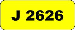 Number Plate J2626 Rare Classic Plate