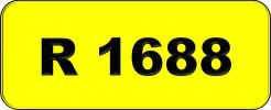 Number Plate R1688 Rare Classic Plate