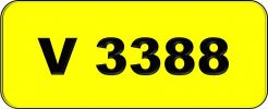 Number Plate V3388 Rare Classic Plate
