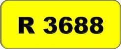 Number Plate R3688 Rare Classic Plate