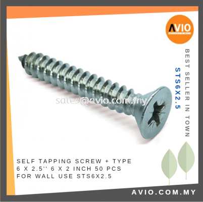 Self Tapping Screw + Type 6 x 2.5 Inch 6x2.5 6 X 2 1/2���� 50 Pcs for Wall Electrical and Construction use STS6X2.5