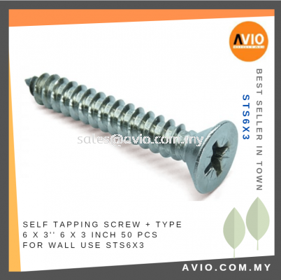 Self Tapping Screw + Type 6 x 3 Inch 6x3 6 X 3���� 50 Pcs for Wall Electrical and Construction use STS6X3