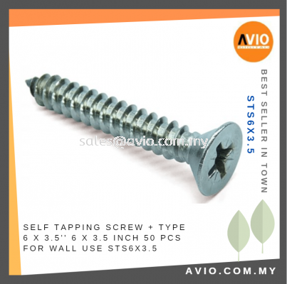 Self Tapping Screw + Type 6 x 3.5 Inch 6x3.5 6 X 3 1/2���� 50 Pcs for Wall Electrical and Construction use STS6X3.5
