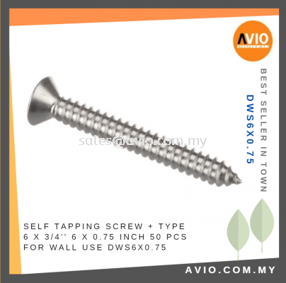 Drywall Screw + Type 6 x 0.75 Inch 6x0.75 6 X 3/4���� 50 Pcs for Wall Electrical and Construction use DWS6X0.75