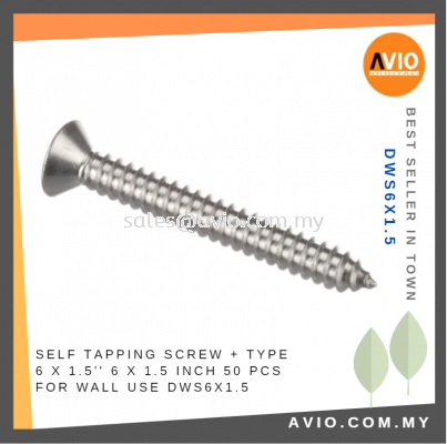 Drywall Screw + Type 6 x 1.5 Inch 6x1.5 6 X 1 1/2���� 50 PCS for Wall Electrical and Construction use DWS6X1.5