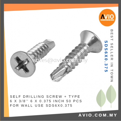 Self Drilling Screw + Type 6 x 0.375 Inch 6x0.375 6 X 3/8���� 50 PCS Metal Surface Electrical and Construction SDS6X0.375