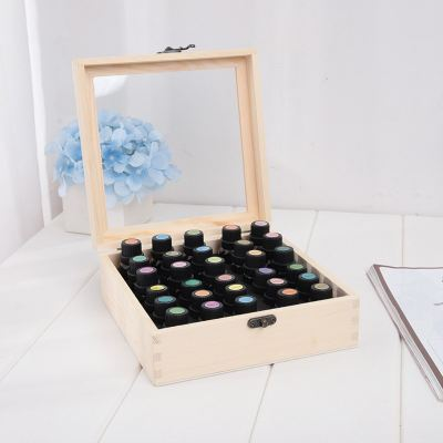 15ml Essential oil wooden box with 30 divided compartment